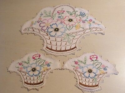 3 piece NOVELTY FLOWER BASKET VINTAGE HAND EMBROIDERED - BEAUTIFUL
