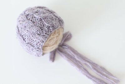 Handmade knit Newborn Lavender hat/bonnet photo prop baby girl ALPACA & WOOL