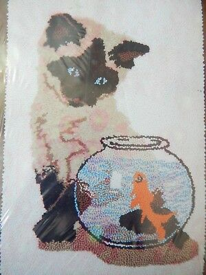 "VTG New 1979 Rug Crafters Speed Tufting ""SIAMESE KITTEN"" 22x33"" Goldfish #35-593"