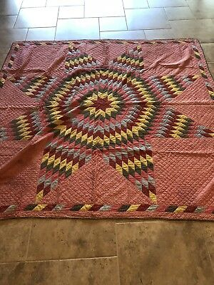 Antique Hand Quilted Lone Star Quilt 77x81 1860s-1880s