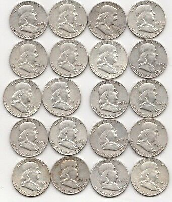20 Circulated Franklin Us 90% Silver Half Dollar Roll 1952 1963 Great Investment