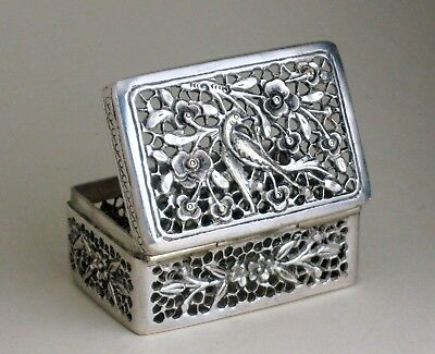Antique Chinese export sterling silver CRICKET BOX pierced flower & bird -signed