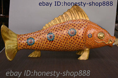 28 China Bronze Cloisonne Enamel Hand Carved Auspicious Goldfish Big Fish Statue