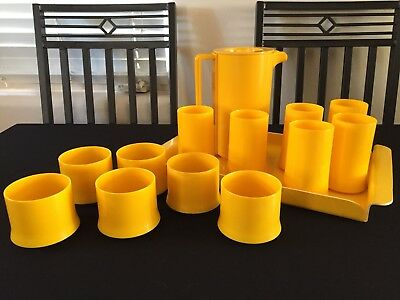 Vintage Yellow Ingrid Of Chicago Pitcher and Cups Serving Set