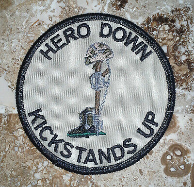"""HERO DOWN KICKSTANDS UP Full Color 3"""" Biker PATCH - FREE SHIPPING"""