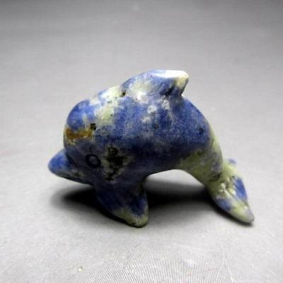 "1.5""/11g Sodalith Dolphin Handmade stone Carving L1021"