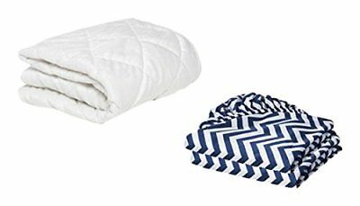 BKB Bassinet Mattress Protector and 2 Chevron Sheets Combo, Navy, 16 x 32""
