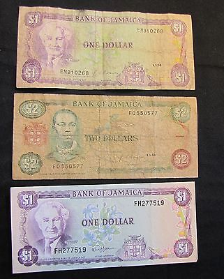 Lot of 3 1990 Jamaica Notes - 2x $1, 1x $2