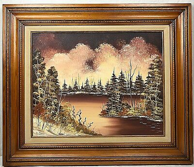 Framed Oil Painting of Lake in the Woods Set Against Dramatic Sky Sign M. Oakes
