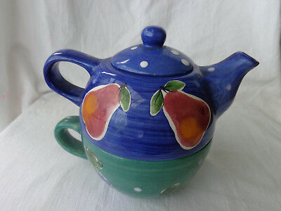 Stacking Teapot and Teacup - Blue and Green