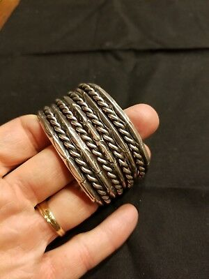 Thick Sterling Silver Old Pawn Cuff Bracelet Twisted Rope Antique Navajo 79g