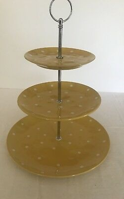 Maxwell & Williams Yellow Sprinkle 3 Tier Cake Stand HIGH TEA Perfect Condition