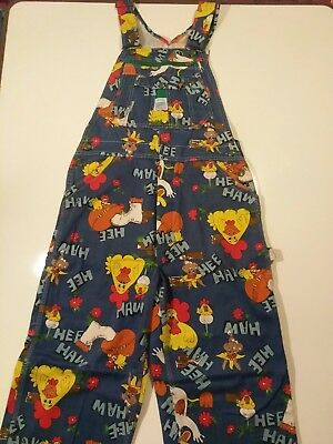 Vintage 1970's Liberty Hee Haw Overalls Jeans 34×36 RARE!! Horse, chicken, farm.