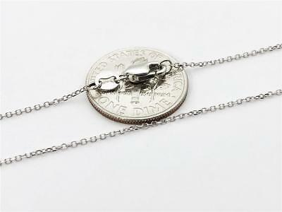 """14K 20"""" Inches 1mm Solid White Gold Cable Link Chain Pendant Necklace"""