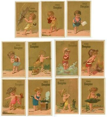 c1880s Soapine French Laundry Soap trade cards - months of the year - 11 cards