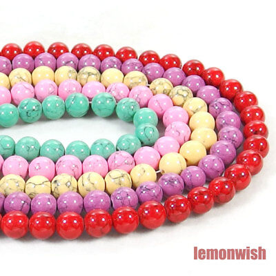 Multi Color Turquoise Gemstone Round Spacer Beads 15.5'' 4mm 6mm 8mm 10mm 12mm