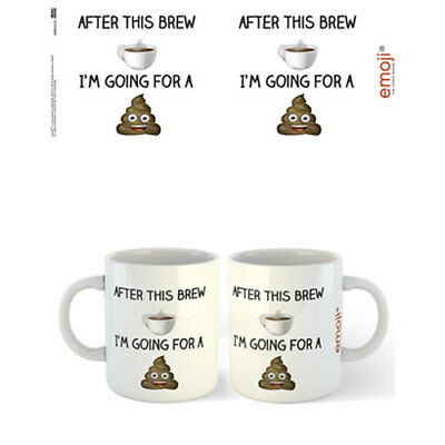 emoji - After This Brew I'm Going For a Poo Mug x 2 BRAND NEW (Set of 2 Mugs)
