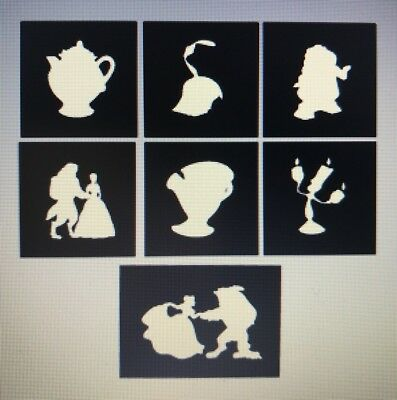 X7 Beauty & Beast Stencil Glass Craft Etched Vinyl Sticker Silhouette Disney