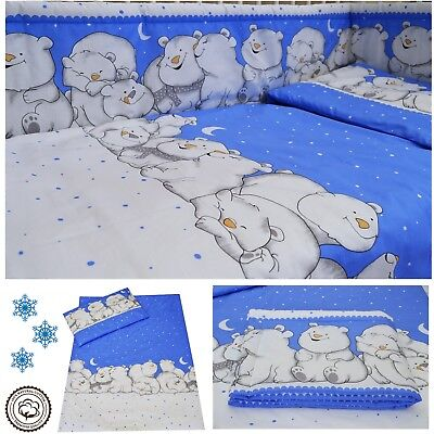 Polar Bears Blue Nursery Baby Boy Cot/ Cot bed/ Toddler Bed Bedding Set Curtains