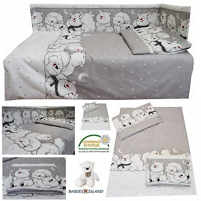 Grey Nursery Baby Cot/ Cot bed/ Toddler Bed Bedding Set Curtains Polar Bears