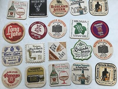 20 Vintage Retro Coasters Scotch Whisky Brandy Long John Hardy's Macleay Duff