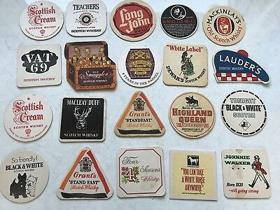20 Vintage Retro Coasters Whisky Scotch Lauders Scottish Cream Johnnie Walker