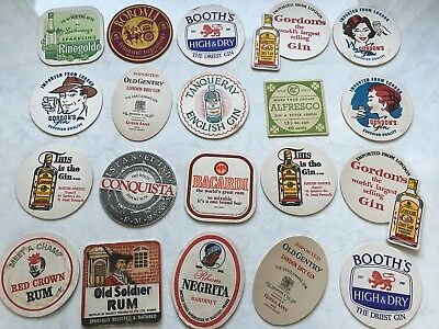 20 Vintage Retro Coasters Gin London Dry Booths Tanqueray Gordons Alfresco Booth