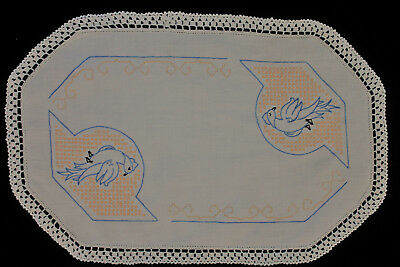 Vintage beige linen cloth with hand embroidered bluebirds, yellow cross stitch.