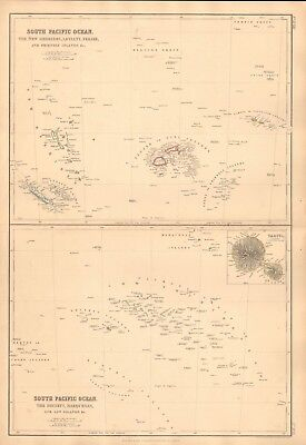 1860  Antique Map - South Pacific Ocean, New Hebrides, Society Islands, Tahiti