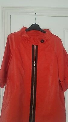 Vintage 1960s or 70s red PVC Stylish Jacket with Zipper. Size 12/14.