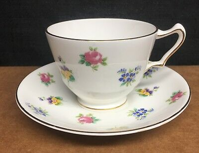 Crown Staffordshire Rose Pansy Cup & Saucer