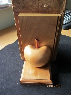 Wooden Apple Bookends - made from apple wood - Antique