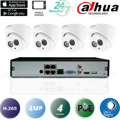 Dahua 4Ch 4Mp Kit H.265 Poe Built-In Mic Audio Cctv Ip Cameras Security System