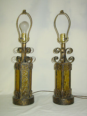 Vintage W.I. Wrought Iron Gothic Spanish Revival Amber 3-Way Table Lamp ~ PAIR