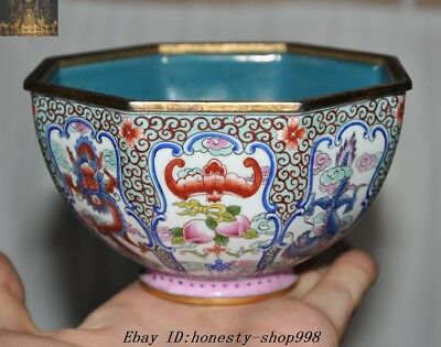 Marked Old Chinese Bronze Cloisonne Dragon Loong Bat Peach Bowl cup Bowls Statue