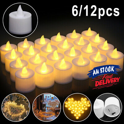 6/12pcs Decorative Candles Flameless Tea Light Flickering Wedding Electronic LED