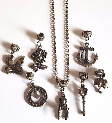 Bronze Necklace Rose Clock Chair Anchor Key Butterfly Umbrella Charms + gift bag