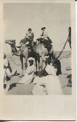 Real Photo Postcard RPPC Man & Woman on Camels Caravan Egypt 1934