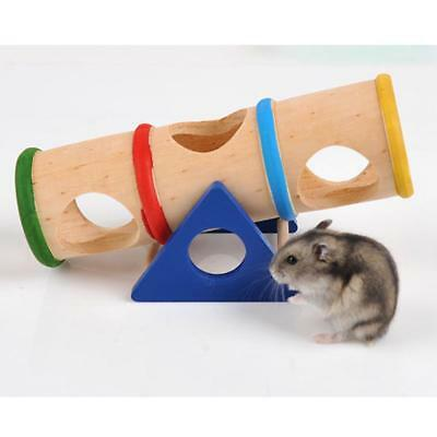 Hamster Seesaw Tube Toy Wooden Colorful Tunnel Hide Play Cage Pet Accessories