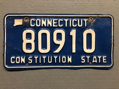 CONNECTICUT LICENSE PLATE The Constitution State Blue/White 80810