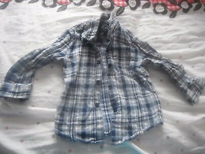 Boy's Blue/White Long Sleeve Check Shirt Age 1 1/2 - 2 Years