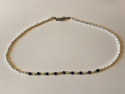 Costume jewellery necklace real pearls blue beads 17""