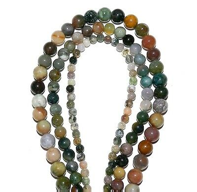 """GR446 3-Strand Fancy Mixed Agate 4mm 6mm 8mm Round Pebble Gemstone Beads 16"""""""