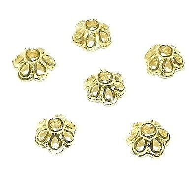 M433 14kt Gold 6mm Round Open Flower Bead Caps 6pc