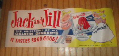 """Vintage Jack and Jill Gelatin 10"""" X 30"""" Paper Advertising Store Poster Banner"""