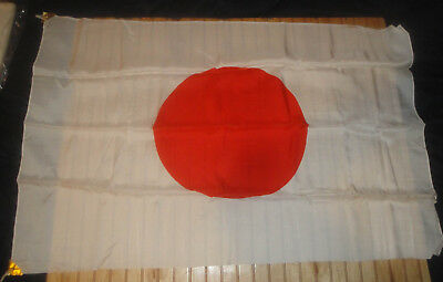 "Vintage 1953 Japanese ""Meatball"" Silk Flag 30 x 44"