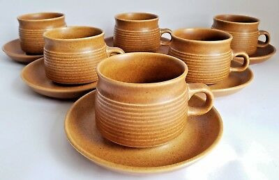 Vintage Denby / Langley 'Canterbury' Cups & Saucers x 6