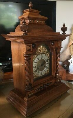Huge Edwardian Walnut Mantle Clock. German. Working