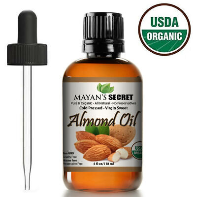 Sweet Almond Oil Organic Carrier Cold Pressed Unrefined 100% Pure 4 Oz