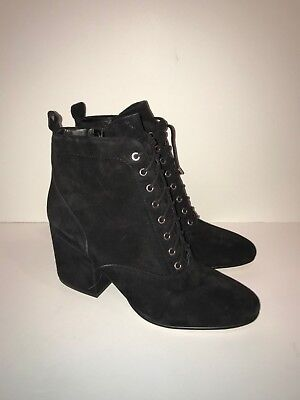 f27755a27 SAM EDELMAN New Tate Lace Up Black Suede Victorian Ankle Boots Booties 8